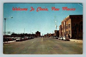 Clovis NM, Welcome, Main Street, Chrome New Mexico Postcard