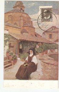 C.Vazquez. The Nun. Recuerdo de amor Art vintage Spanish postcard