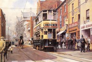Postcard Art A Birmingham Tram Leads the 1953 Coronation Parade R.K Calvert #958