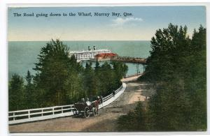 Road Down To Steamer Wharf Murray Bay Quebec Canada 1935 postcard