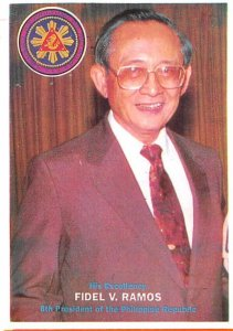 Fidel V Ramos Eighth President of the Philippine Republic Non Postcard Backing