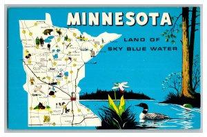 MINNESOTA Land Of Sky Blue Water State Map Vintage Standard View Postcard