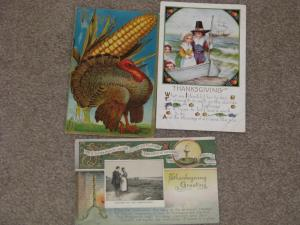 Thanksgiving Cards, 2 used, 1 unused, vintage cards