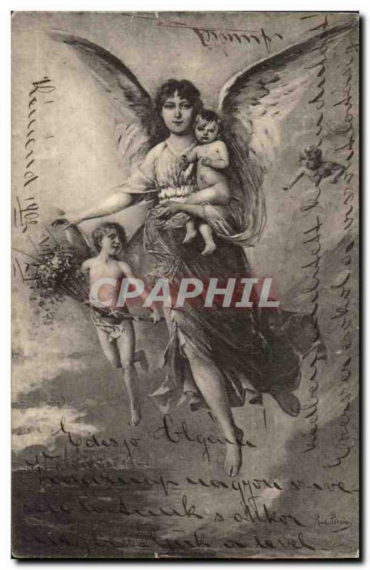 Ange - Angel - Engel - Woman with knowing glance and cherubs CPA (carte hongrois