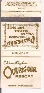 Matchbook Cover ! Polynesian Restaurant, Outrigger Resort, Jensen Beach, Fla,  !