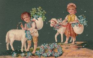 EASTER, 1900-10s; Children with sheep, flower filled egg shells, PFB 7482