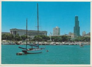 CHICAGO, ILLINOIS, Waterfront view showing Soldiers Field, unused Postcard