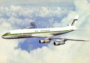 Vintage 1960s/70s Postcard Air Afrique Douglas DC8 70 Series Turbofan 90A