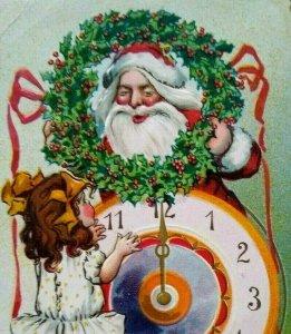 Santa Christmas New Years Postcard Tucks Unused Original Series 145 Embossed