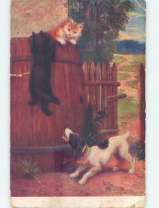 Pre-Linen CUTE DOG BARKING AT KITTEN CAT IN WOODEN BARREL HL6261