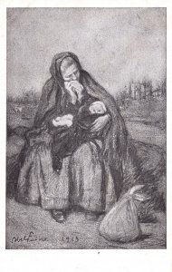 French Mother & Child Antique 1915 WW1 Painting Postcard