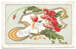 Best Wishes Embossed Gilded Poppies Vintage Postcard 1912
