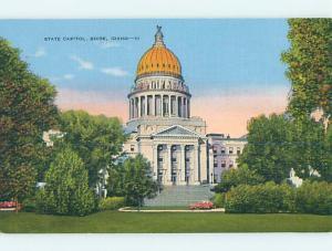 Unused Linen CAPITOL BUILDING Boise Idaho ID p0928
