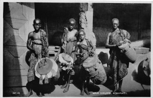 Ghana Gold Coast Ashanti War Drums Natives real photo Postcard