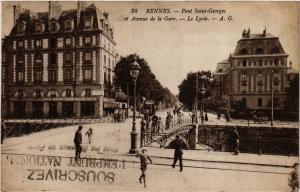 CPA RENNES - Pont St-GEORGES et Avenue de la Gare - Le Lycée (298178)