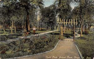 Fargo North Dakota~Island Park Cycle Path Arbor~Victorian Lady on Sidewalk~1911