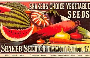 Old Vintage Shaker Post Card Choice Vegetable Seeds Mount Lebanon, New York, ...