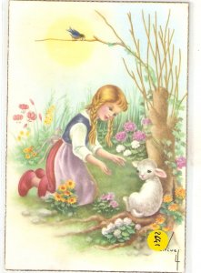 lLittle girl with little lamb. Flowers. Bird LovelySpanish PC 1940s