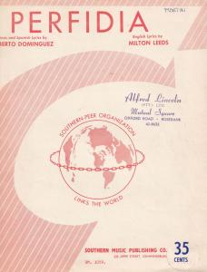 Perfidia Alberto Dominguez 1950s South Africa Sheet Music