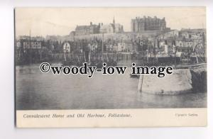 f0466 - Paddle Steamer in Folkestone Harbour , Kent - postcard