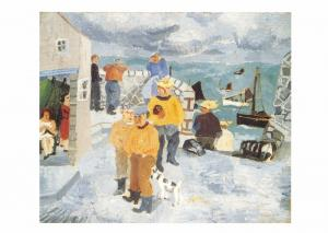 Postcard Art Cornish Fishermen, The Quay, St. Ives, Cornwall(1928) MU2231 #2735