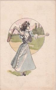 Beautiful Lady With Tennis Racquet 1911