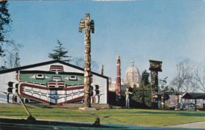 VANCOUVER, British Columbia, Canada, PU-1966; Thunderbird Park, Indian Totem ...