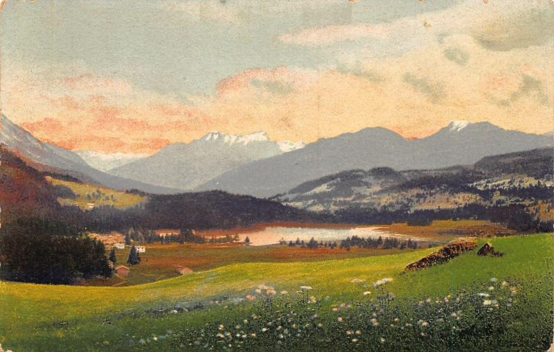 Lenzerheide Lake Mountains Landscape Postcard