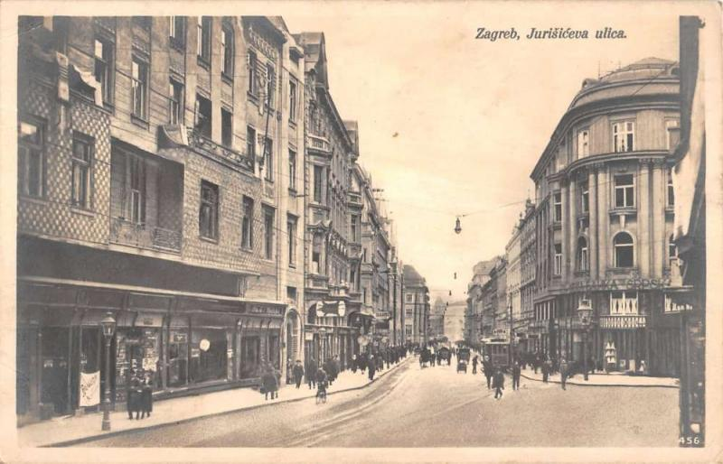Zagreb Croatia Busy Street Scene Real Photo Antique Postcard K10890