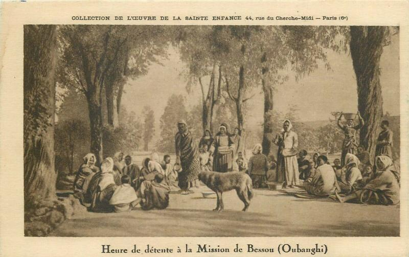 Time of relaxation at the mission of Bessou Oubanghi Central Africa postcard