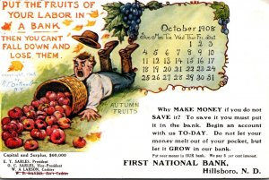 North Dakota Hillsboro First National Bank Calender Card 1908