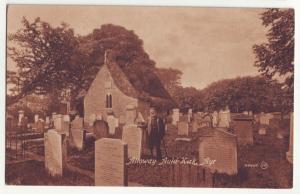 P1018 old card Alloway Auld Kirk aye cemetery or graveyard scene scotland