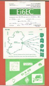 QSL AMATEUR RADIO CARDS – IRELAND – 3 DIFFERENT CARDS – 1981-1988