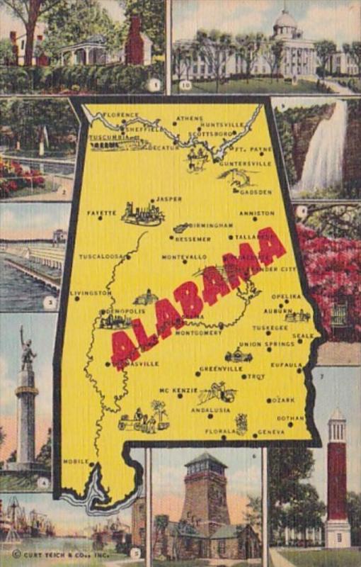 Map Of Alabama Curteich