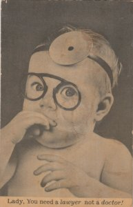 Squeeker Postcard ; Baby Doctor , Lady you need a lawyer, not a doctor! , 1954