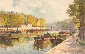 View. Bords de  la Saone Fine painting, vintage Swiss postcard. Signed.