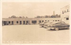 A60/ Oneida Tennessee Tn 1951 RPPC Postcard B&Z Grill and Court Autos Cline