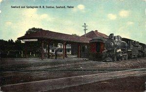 Sanford ME Seaford and Springvale Railroad Station Train Depot Postcard