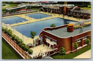 Tompkinsville~Staten Island New York~wimming Pool~Art Deco Bath House~1946 Linen