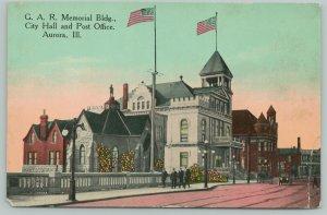 Aurora Illinois~Men Stroll Past GAR Building~City Hall Flags~Post Office~1910 PC
