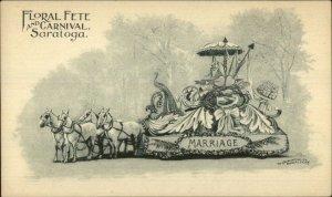 Saratoga NY Floral Fete Parade c1900 Postcard MARRIAGE FLOAT