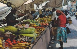 Famous schooner market offering fruits and vegetables, Curacao, 40-60s