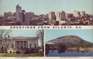 ATLANTA - GREETINGS FROM Multiple views shows the skyline, Stone Mountain 1950s