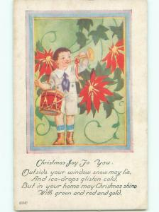 Unused Pre-Linen christmas BOY PLAYS DRUM AND HORN k0900