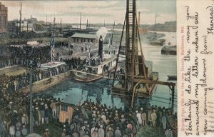 BALTIMORE , Maryland, 1907 ; Driving 1st pile for new dock