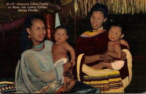 Florida Miami Seminole Indian Family At Musa Isle Indian Village Curteich