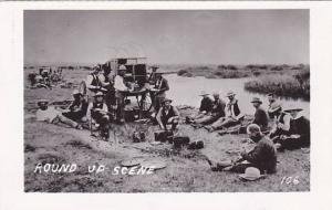 RP, Round Up Scene, Men Eating, Wyoming, 1930-1940s