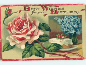 Pre-Linen art nouveau BIRTHDAY CAKE WITH ROSE AND FORGET-ME-NOT FLOWERS HJ3479