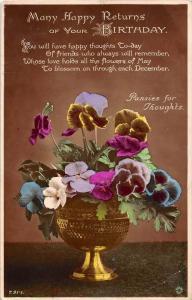 Gold Bowl of Pansies , Birthday Poem