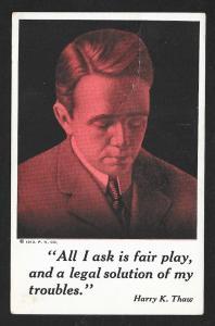 Harry Kendall Thaw Evelyn Nesbitts Notorious Murderer Husband Unused c1913